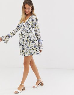 floral skater dress with tie sleeve detail-Multi