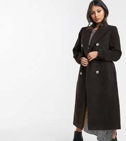 double breasted coat with tie waist-Brown