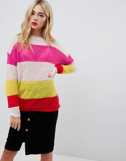 relaxed sweater in loose knit stripe-Multi