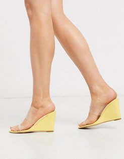 wedge with clear upper in pastel yellow
