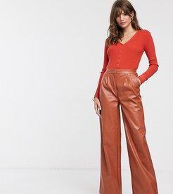 wide leg pants in soft faux leather-Brown