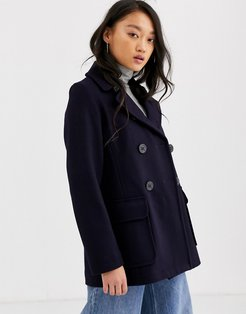 Gloveral Reefer double breasted wool blend coat-Navy