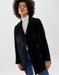 Reefer double breasted coat in wool blend-Black