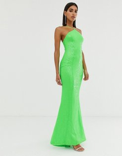 backless sequin dress in lime-Green