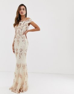 off shoulder bardot placement lace maxi dress in blush and gold-Multi