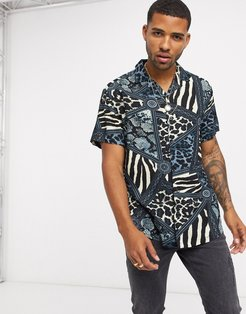 animal contrast print shirt in blue