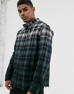 check shirt in ombre fade with raw hem-Black