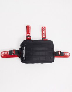 Kowloon recycled chest bag in black