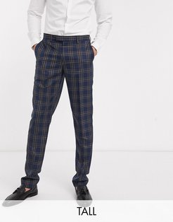 Tall slim fit blue and brown overcheck suit pants-Navy
