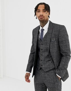 Textured Slim Fit Gray Check Suit Jacket
