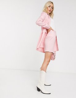 tailored mini skirt suit in pink gingham