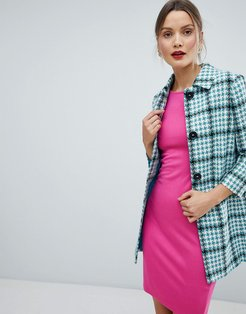 Checked Short Duster Jacket-Blue