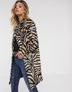 faux hair coat in zebra-Multi