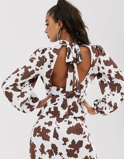 backless top in cow print with tie detail and cut out two-piece-White