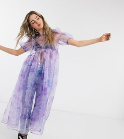 oversized smock dress with bow tie back in sheer celestial organza-Purple