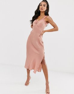 satin slip dress with high split and lace detail-Pink