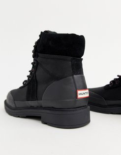 Insulated Black Leather Hiker Boots