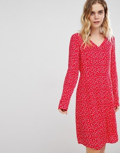 Ditsy Floral Dress-Red