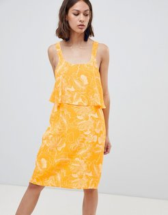 Floral Overlay Dress-Yellow