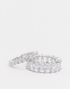 crystal ring multipack x 2 in silver plate