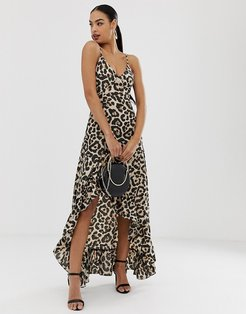 leopard frill hem maxi dress-Multi
