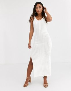 ribbed maxi dress-White