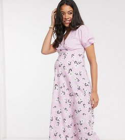 floral midi tea dress with mixed lilac floral print-Pink