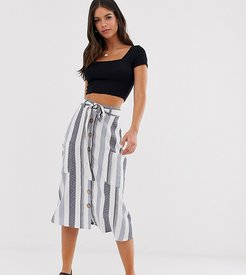 midi skirt with pockets in natural stripe-Beige