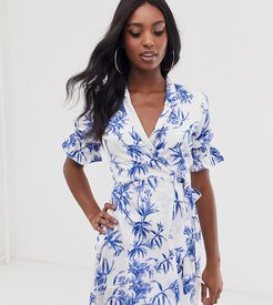 wrap front dress in porcelain floral print-White