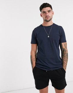 Essentials t-shirt in organic cotton with crew neck in navy