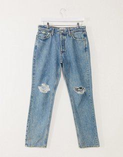 Intelligence jeans in loose fit with rips in mid blue
