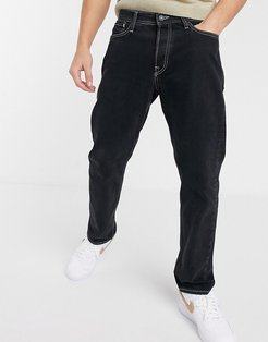 Intelligence loose fit contrast stitch jeans in black
