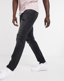 Intelligence slim fit jean with rips in black