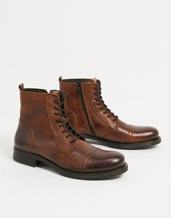lace up leather boot in brown