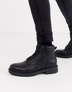 leather chunky sole lace up boots in black
