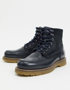 leather lace up boot with chunky sole in navy