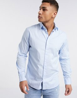 stretch cotton shirt in blue