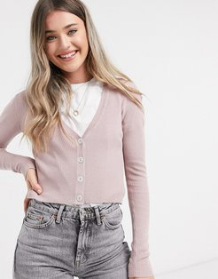 donnell long sleeve cropped cardigan in gray