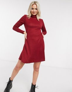 mini dress with high neck in red