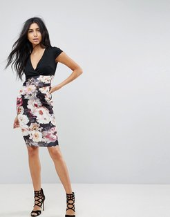 Bodycon Dress With Printed Skirt-Multi