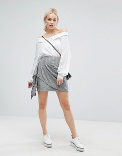 Wrap Front Mini Skirt In Vintage Check-Multi