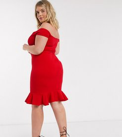 exclusive bardot pencil dress with ruffle detail hem in red