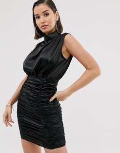 Katchme satin ruched mini dress in black