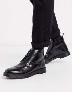 KG by Kurt Geiger lace up leather chunky boot in black