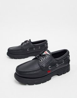 lennon boat shoes in black leather