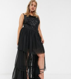tiered high low tulle maxi skirt in black