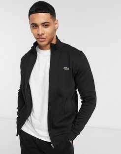 Lacoste zip through funnel neck sweat in black