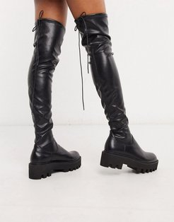 over the knee pull on boots in black