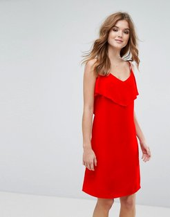 Cami Dress With Frill Overlay-Red