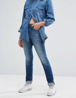 Elly Slim Straight Mid Rise Jeans-Blue
